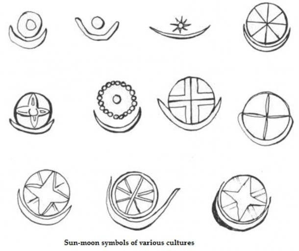 Sun and moon symbols of various cultures