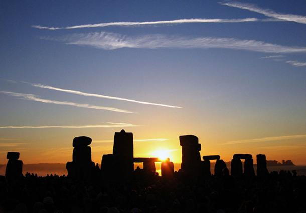 The sun rising over Stonehenge on the June solstice.