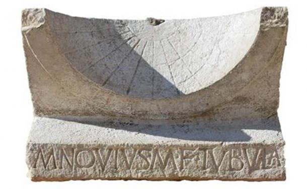 The sundial pictured after excavation.