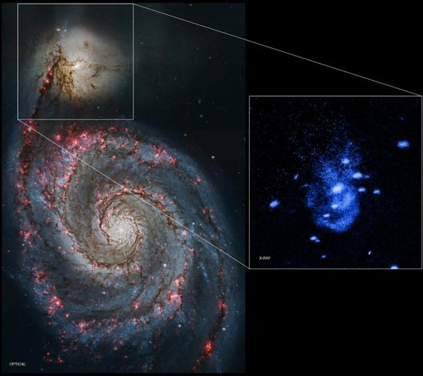 An outburst in the supermassive black hole centered in the small galaxy NGC 5195.