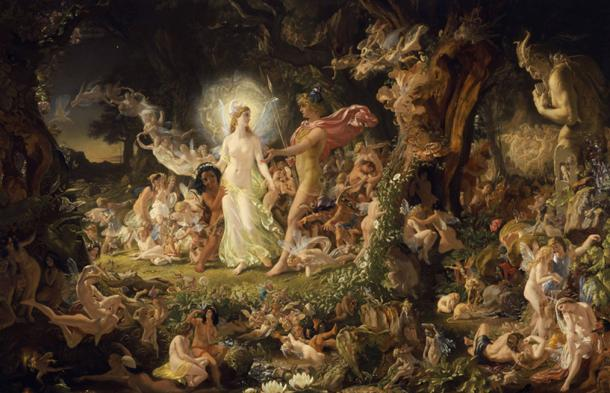 A supernatural realm of fairies. 'The Quarrel of Oberon and Titania by Noel Paton'