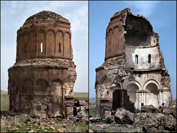 The supported ruins of The Church of the Redeemer