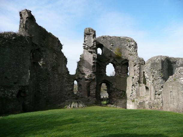 The surviving ruins of Abergavenny Castle, interior. South East Wales.