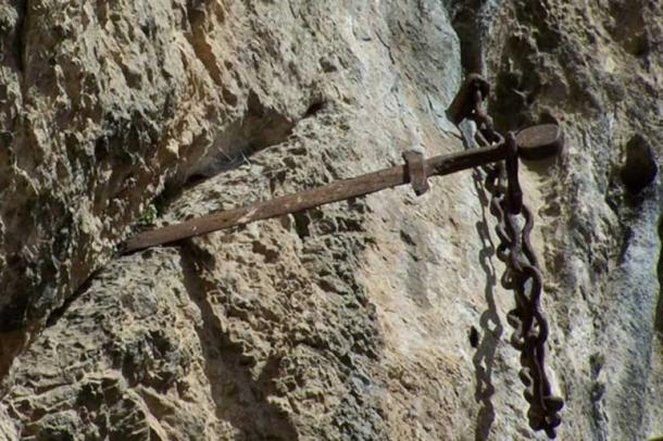 The sword believed to be Durandal embedded in a rock in Rocamadour, Toulouse
