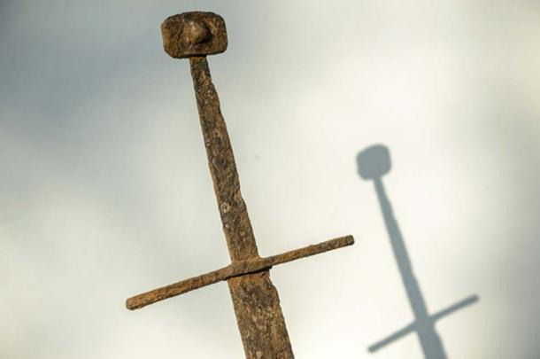 The sword found in the peat bog in Poland.