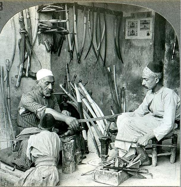 A sword maker of Damascus, Syria. Circa 1900.