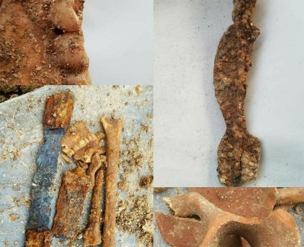 Part of the sword, skeletal remains and the earthen vessel found in the Parthian warrior's grave. (Tehran Times)