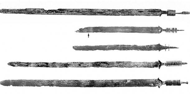 Some of the swords and weapon fragments from the Late Iron Age, from Kessel. Weapons were found bent, indicating some sort of ritual.