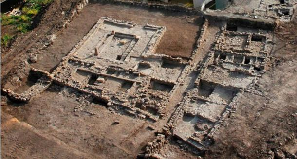 An aerial view of the synagogue uncovered in excavations conducted by the Israel Antiquities Authority at Migdal. The site is open to visitors.