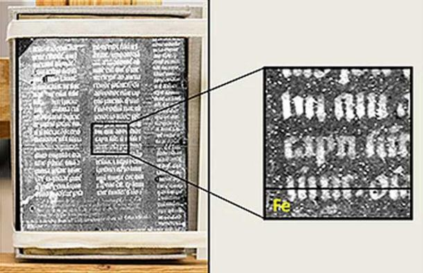 Use of synchrotron imaging techniques clearly reveals text traces within the parchment