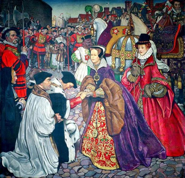 Mary I of England makes her entrance in London to take over the throne in 1553, accompanied by her sister Elizabeth, dressed in red behind her.