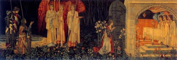 Did the tale of Cerridwen inspire legends of King Arthur and the Holy Grail? 'Galahad, Bors, and Percival achieve the Grail'. Tapestry woven by Morris & Co.