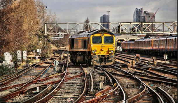 The tangle of tracks at Clapham switching yard, London, England.