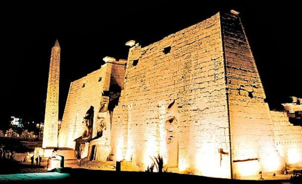 Night shot from outside the Temple of Luxor