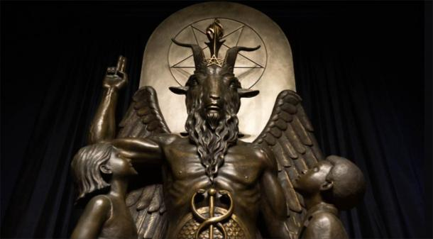 Inside the international headquarters for the Satanic Temple in Salem, Massachusetts, there is a temple featuring their notorious Baphomet statue, a bronze sculpture created, thanks to an Indiegogo crowdfunding campaign, as an act of protest. The group petitioned for the statue to be displayed at Oklahoma State Capitol, in response to a monument of the Ten Commandments installed by Oklahoma State Representative Mike Ritze in 2012. (Marz Nozell / CC BY 2.0)