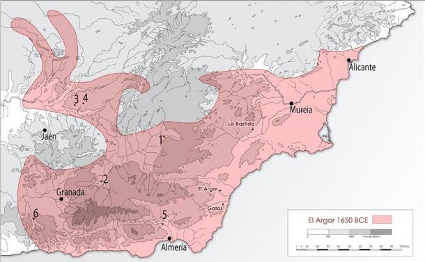 Maximum territorial extension of the El Argar culture and locations of the analyzed sites of La Bastida and Gatas. (ASOME, UAB / PLOSONE)