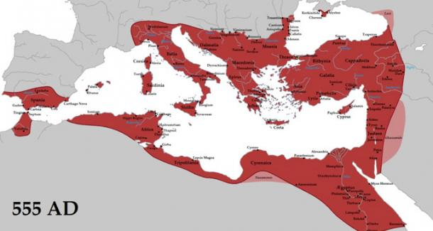 Emperor Justinian reconquered many former territories of the Western Roman Empire, including Italy, Dalmatia, Africa, and southern Hispania