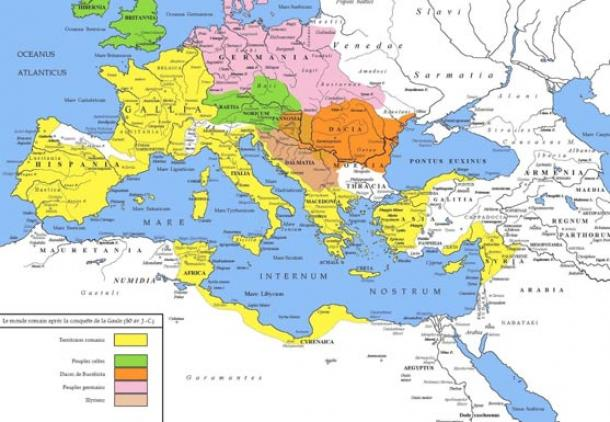 Mark Antony served Caesar during the Gaul campaign. The ancient Mediterranean in 50 BC at the end of Caesar's Gallic Wars, with the territory of Rome in yellow