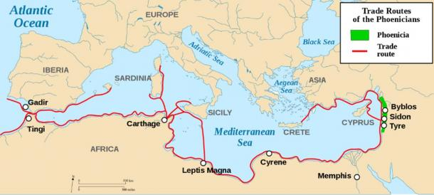 Phoenician territory and their extensive trade networks and settlements around the Mediterranean. (Credit: Rodrigo & Reedside / CC BY-SA 3.0)