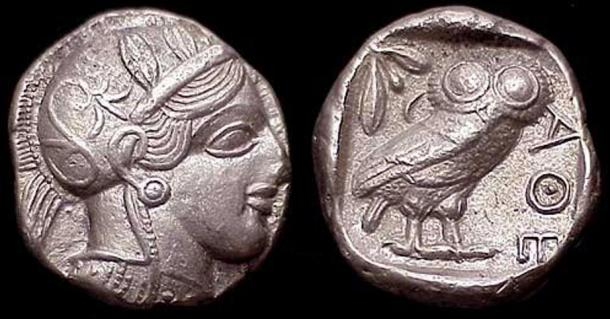 A tetradrachm with the head of Athena and her symbol the owl on the reverse.