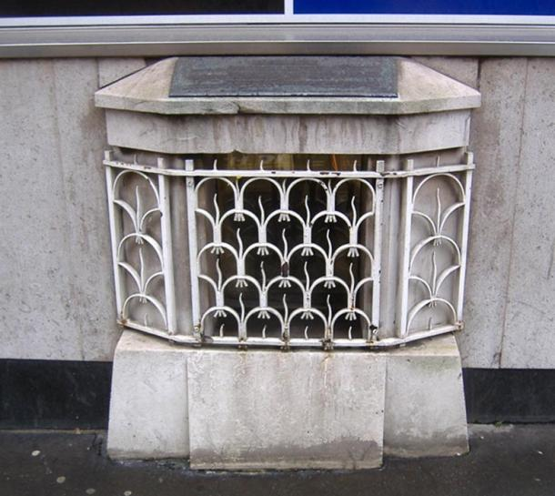 The London Stone, in its grille in Cannon Street before it was moved recently to the Museum of London.