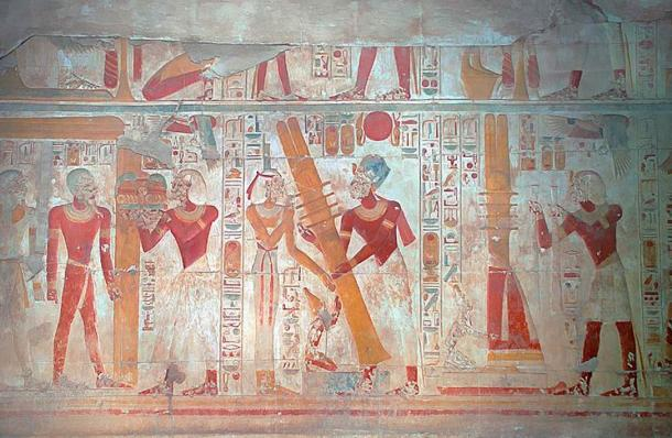 A scene on the west wall of the Osiris Hall that is situated beyond the seven chapels and entered via the Osiris Chapel. It shows the raising of the Djed pillar