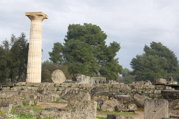 Ruins at the west end of the Temple of Zeus in Olympia, Greece.