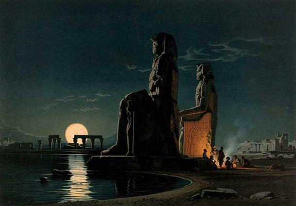 Drawing of the ancient Egyptian Colossi of Memnon.