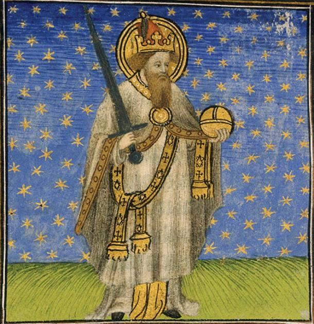 A picture from the 15th century depicting the emperor Charlemagne.