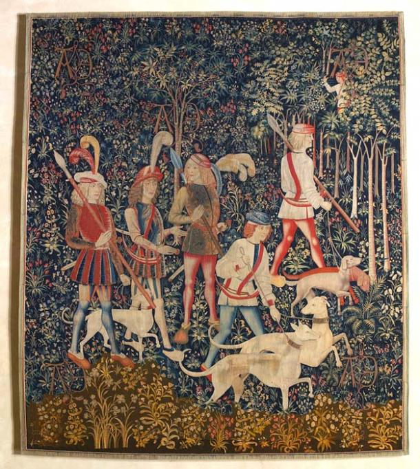 The first tapestry of the Unicorn Tapestries - The Start of the Hunt or The Hunters Enter the Woods. (The Public Domain Review / Public Domain)