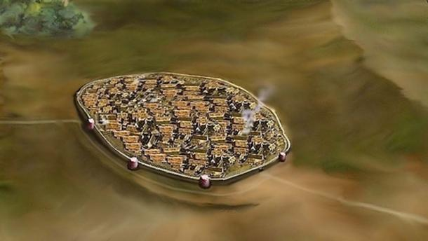 Reconstruction of the fortified city of Solnitsata, Bulgaria, 4700 - 4200 BC.