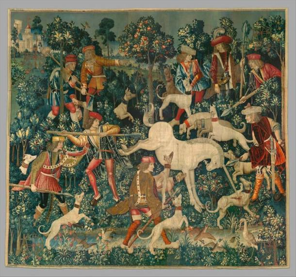 The fourth tapestry of the Unicorn Tapestries - The Unicorn Defends Itself. (The Public Domain Review / Public Domain)