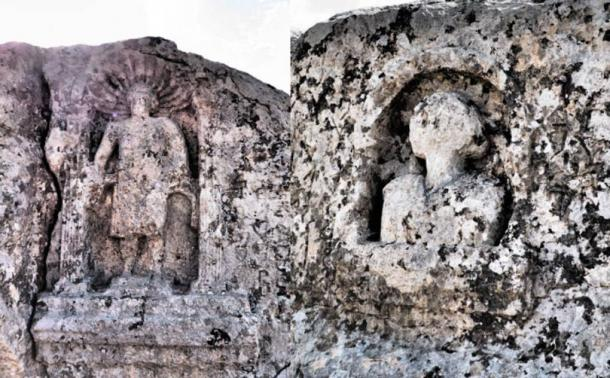 Some images of the gods carved in the hill.