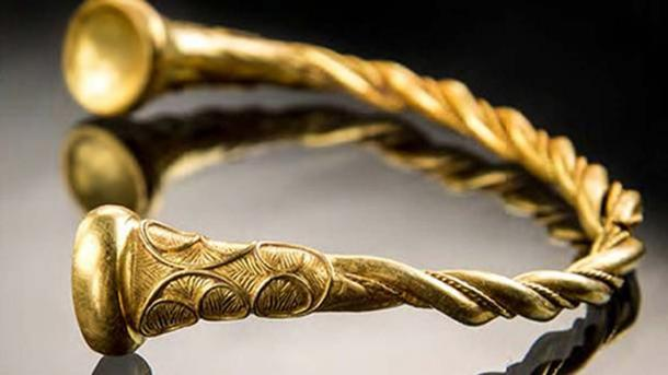 One of the gold torcs which was discovered on Staffordshire farmland by Joe Kania and Mark Hambleton.