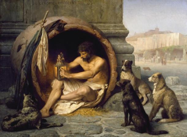 "The Greek philosopher Diogenes (404-323 BC) and his dogs which were emblematic of his ""Cynic"" dog-like philosophy which emphasized an austere existence. (CC BY-SA 3.0)"