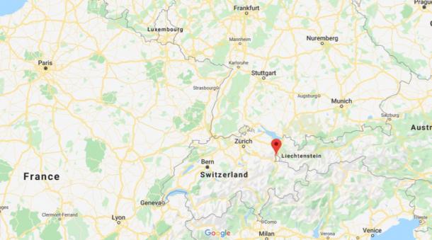 The location of Liechtenstein - between Switzerland and Austria (Google Maps)