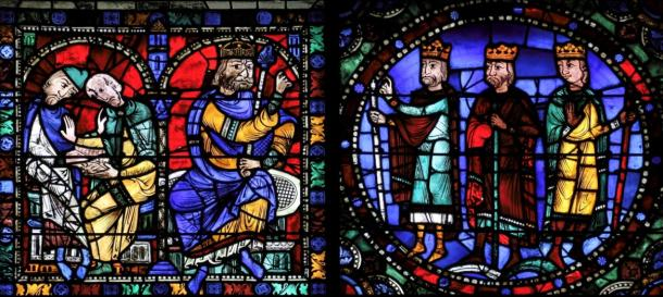 The Magi before King Herod, on a 13th-century stained glass window in Chartres Cathedral, France. (Lawrence OP / CC BY-NC-ND 2.0)