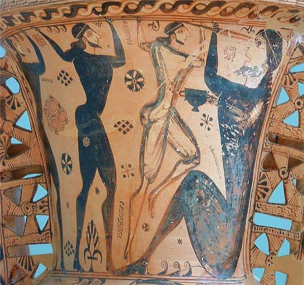 Odysseus and his crew are blinding the most famous of the Cyclopes, Polyphemus. Detail of a Proto-Attic amphora, circa 650 BC. Eleusis, Archaeological Museum.