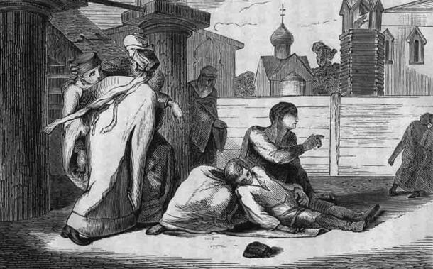 Engraving depicting the murder of Tsarevich Dmitri of Uglich (1870)