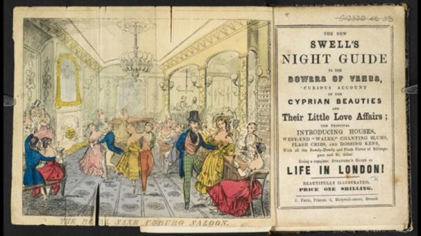 The New Swell's Night Guide, a guide to finding and approaching actresses and prostitutes, estimated 1840. (British Library / Public Domain)
