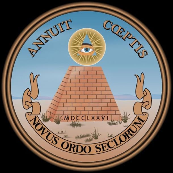 "Since 1782, the reverse side of the Great Seal of the United States has included the Latin phrase 'novus ordo seclorum', and it has appeared on the back of the U.S. one-dollar bill since 1935. Translating to New Order of the Ages many believe this alludes to the beginning of ""New World Order."" (Public Domain)."