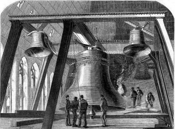 Engraving of the second 'Big Ben', taken from 'The Illustrated News of the World' December 4, 1858.