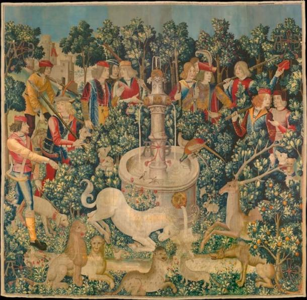 The second tapestry of the Unicorn Tapestries - The Unicorn at the Fountain. (The Public Domain Review / Public Domain)