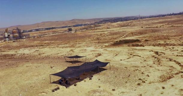 The site where the Nubian Levallois tools were found in the Negev Desert. (Emil Eladjem, Israel Antiquities Authority)