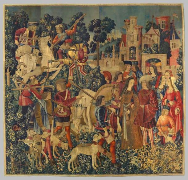 The sixth tapestry of the Unicorn Tapestries - The Unicorn is Killed and Brought to the Castle. (The Public Domain Review / Public Domain)