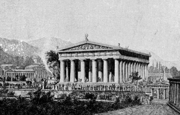 Wilhelm Lübke's illustration of the temple as it might have looked in the 5th century BC.