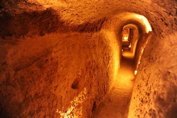 the underground city of Nushabad, Iran.