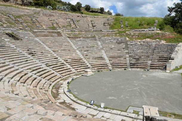 The theater of ancient Halicarnassus, built in the 4th century BC during the reign of King Mausolos and enlarged in the 2nd century AD, the original capacity of the theatre was 10,000. Bodrum, Turkey.