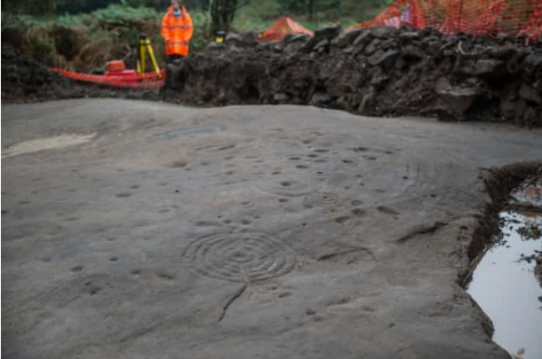 The Cochno Stone at Faifley was excavated in 2015 and 2016 and then reburied to protect it from damage. Image: John Devlin/TSPL.