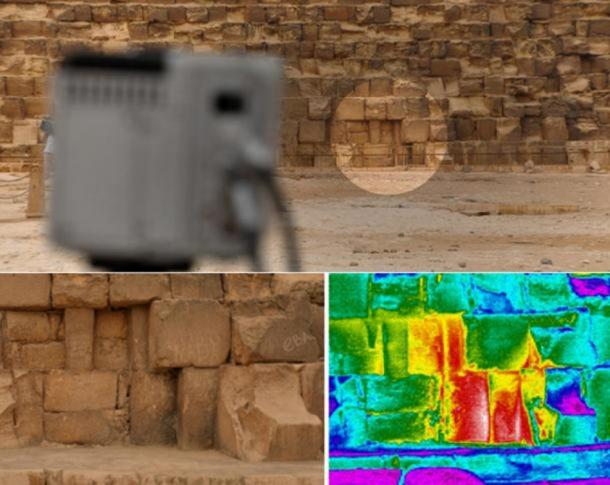 Several thermal anomalies were observed on all monuments, but one particularly impressive one was detected on the eastern side of the Great Pyramid at the ground level.